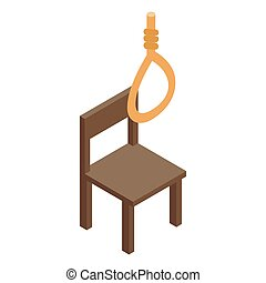 Chair and loop icon, isometric 3d style