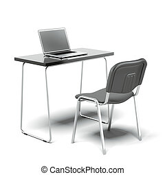 Chair and office desk with laptop - Chair and desk with...