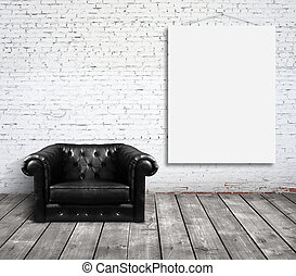 chair and poster on wall - chair in room and blank poster on...