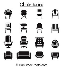 Chair and Sofa of front view icon set vector illustration graphic design