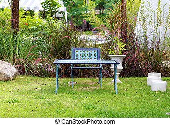 chair and table in garden