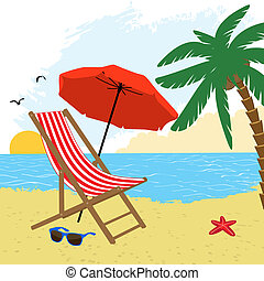 Chair and umbrella on the beach with palm tree, vector...