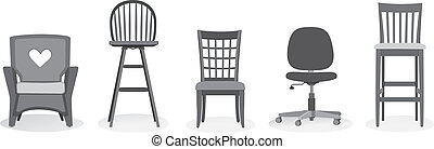 Chair Assortment - 5 different chairs from home to office....