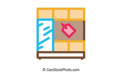 chair bag choice Icon Animation. color chair bag choice animated icon on white background