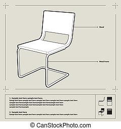 Chair blueprint. Vector.