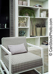 chair by bookcase