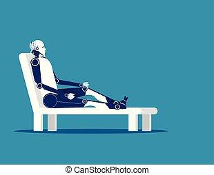chair., concept, délassant, robot, vecteur, illustration., business