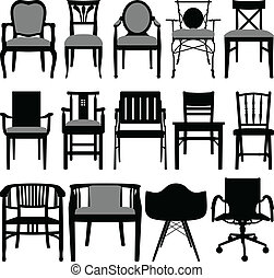 Chair Design - A set of silhouette showing chair design.