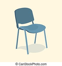 Chair detailed single object realistic design . Isolated on blue background. 3d Vector illustration