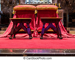 chair for newlyweds in the church