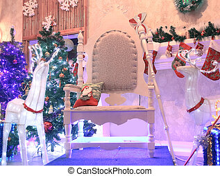 chair for Santa Claus and boxes with gifts in a cozy living room