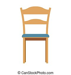 Chair front view illustration furniture vector isolated icon. Interior seat home design armchair style. Room flat element