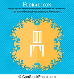 chair icon. Floral flat design on a blue abstract background with place for your text. Vector