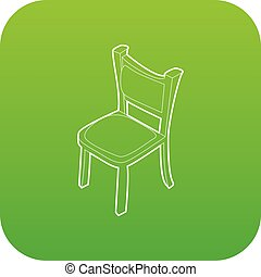 Chair icon green vector