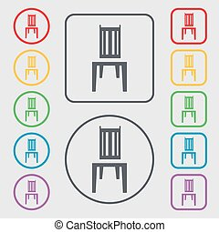 chair icon sign. symbol on the Round and square buttons with frame. Vector