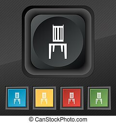 chair icon symbol. Set of five colorful, stylish buttons on black texture for your design. Vector