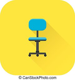 Chair icon. Vector. Flat design with long shadow.