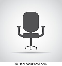 Chair icon with shadow on a gray background. Vector illustration