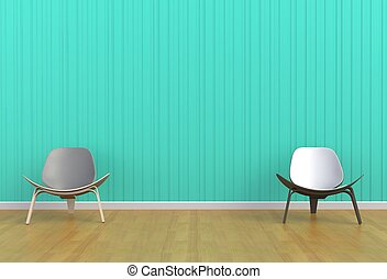 Chair in a blue room, 3D rendering