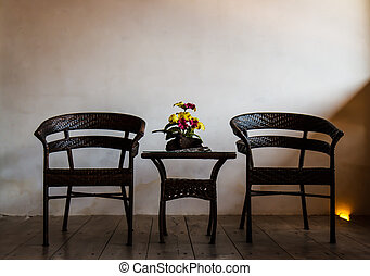 Chair in a dark room