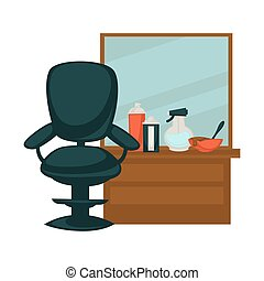 Chair in beauty salon - Vector illustration of chair at...