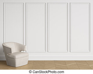Chair in classic interior with copy space. White walls with mouldings