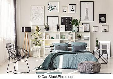 Chair in cozy bedroom interior