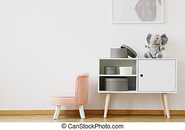 Chair in pink color - Little chair in pink color standing by...