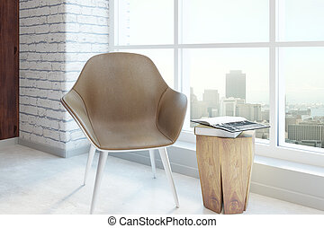 Chair in table in room