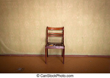 Chair in the room - Antique ragged chair in old room...