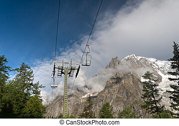 chair lift and Mont Blanc