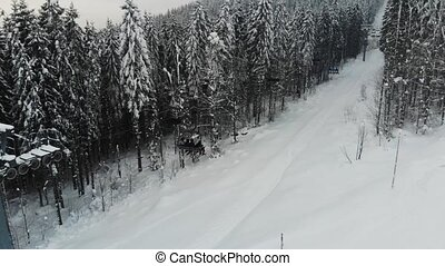 chair lift in spruce forest. ski resort
