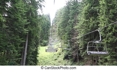 Chair lift without people during summer time in mountain...