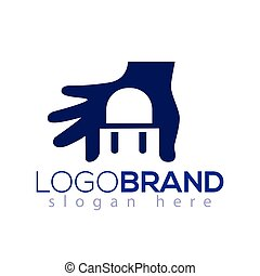 Chair logo negative space in hand logo vector element