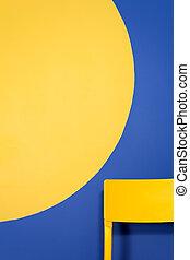 chair., moderno, legno, giallo, interno, design., minimo