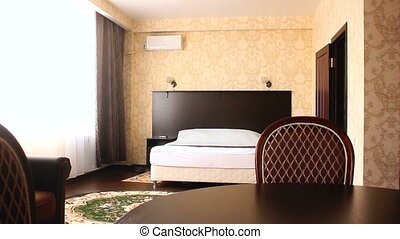 chair motion bedroom room Interior hotel with chairs and...