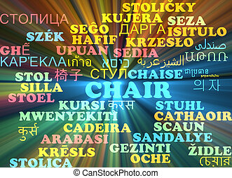Chair multilanguage wordcloud background concept glowing