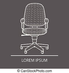 Chair Office linear design. Logo office chair. The emblem of an office chair. Company s logo. Office chair polygons. Banner. Logo laying on. flat design. Concept.