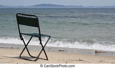chair on beautiful beach and sea (1920x1080/30p, tripod)