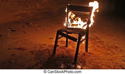 Chair on fire