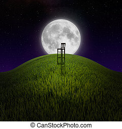 Chair on night hill lit by moon