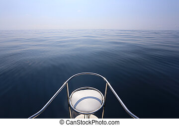 Chair prow of a speedboat, Blue sky and tranquil sea. - ...