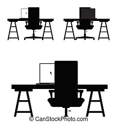 chair set in black color illustration on white