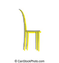 Chair sign illustration. Vector. Yellow icon with square pattern