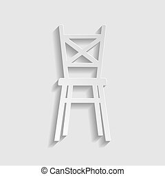 Chair sign. Paper style icon. Illustration.