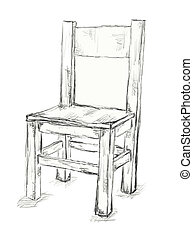 chair - hand drawn chair on white background