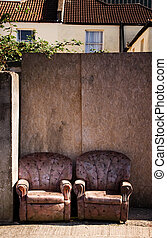 chair street rubbish litter - armchairs on street or ...
