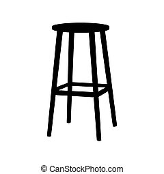 Chair symbol on white background. Bar Stool icon Element In Trendy Style. flat illustration