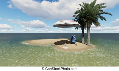chair under an umbrella at the beach by sunny day and two palm tree - 3D render