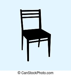 Chair vector illustration isolated on ligth blue background.